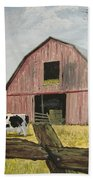 Cow And Barn Beach Towel by Norm Starks