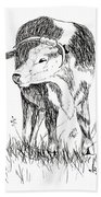 Cow In Pen And Ink Beach Towel