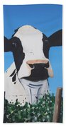 Cow On A Ditch Beach Towel