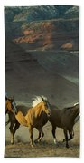 Cowboy Driving Horses Beach Towel