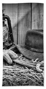 Cowboy Hat And Rodeo Lasso In A Black And White Beach Towel by Paul Ward
