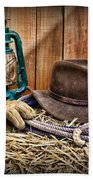 Cowboy Hat And Rodeo Lasso Beach Towel by Paul Ward