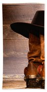 Cowboy Hat On Boots Beach Towel