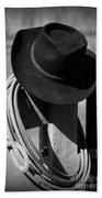 Cowboy Hat On Fence Post In Black And White Beach Towel