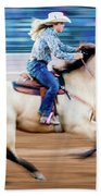Cowgirl Rides Fast For Best Time Beach Towel
