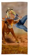 Cowgirl Steer Wrestling Beach Towel