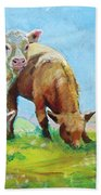 Cows Landscape Beach Towel