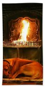 Cozy By The Fire Beach Towel