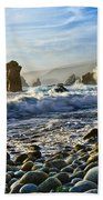 Crash - Waves From Soberanes Point In Garrapata State Park In California. Beach Towel
