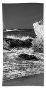 Crashing Waves Bw Beach Towel
