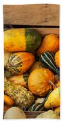 Crate Filled With Pumpkins And Gourts Beach Towel