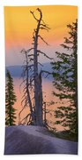 Crater Lake Trees Beach Towel by Inge Johnsson