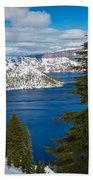 Crater Lake Winter Panorama Beach Towel