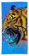 Crazy Tiger Beach Towel by Olga Shvartsur