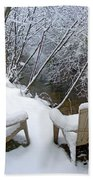 Creekside Chairs In The Snow 2 Beach Towel