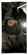 Crew Chief In A Uh-60 Black Hawk Beach Towel