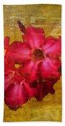 Crimson Floral Textured Beach Towel