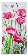 Crimson Poppies Beach Towel