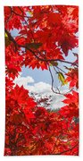 Crimson Red Leaves Background Beach Towel