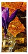Crocus Floral Birthday Card Beach Towel