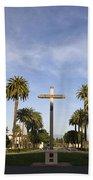 Cross And Palm Trees Mission Santa Clara Beach Towel