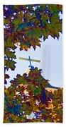 Cross Framed By Leaves Beach Sheet