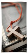 Cross On Bible Beach Towel
