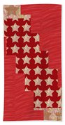 Cross Through Sparkle Stars On Red Silken Base Beach Sheet
