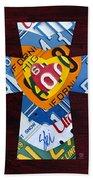 Cross With Heart Rustic License Plate Art On Dark Red Wood Beach Towel