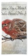 Crouching Finch Christmas Greeting Card Beach Towel