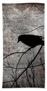 Crow Thoughts Collage Beach Towel