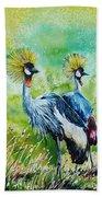 Crowned Cranes Beach Towel