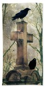 Urban Graveyard Crows Beach Towel