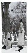 Crows In Gothic Winter Wonderland Beach Towel