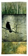 Crows In Nature Collage Beach Towel