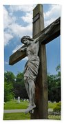 Crucifix Statue St James Cemetery Sewickley Heights Pennsylvania Beach Towel