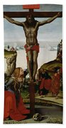 Crucifixion With Mary Magdalene Beach Sheet