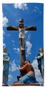 Cruficix Statue At Saint Alphonsus Church Wexford Beach Towel