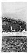 Cruise Ship Under Sf Bridge Beach Towel