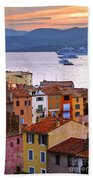 Cruise Ships At St.tropez Beach Towel