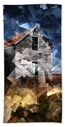 Cubist Abandoned Prairie Farm House Beach Towel