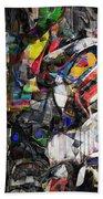 Cubist Photographic Composition Of Totem Poles Beach Towel