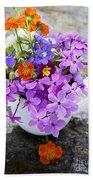 Cup Full Of Wildflowers Beach Towel by Edward Fielding