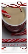 Cup Of Christmas Cheer - Candy Cane - Candy - Irish Cream Liquor Beach Towel