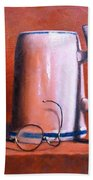 Cup Pipe And Glasses Beach Towel