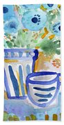 Cups And Flowers-  Watercolor Floral Painting Beach Towel by Linda Woods