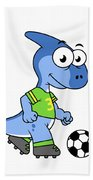 Cute Illustration Of A Parasaurolophus Beach Towel