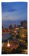 D101l Columbus Ohio Night Skyline Photo Beach Towel