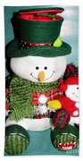 Daddy And Baby Snowmen Decorations Beach Towel