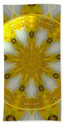 Daffodil And Easter Lily Kaleidoscope Under Glass Beach Towel